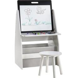 Decopatent® Kindertafel met opbergruimte & Inclusief krukje - Kleurtafel - Knutseltafel - Speeltafel - Boekenkast - voor kinderen