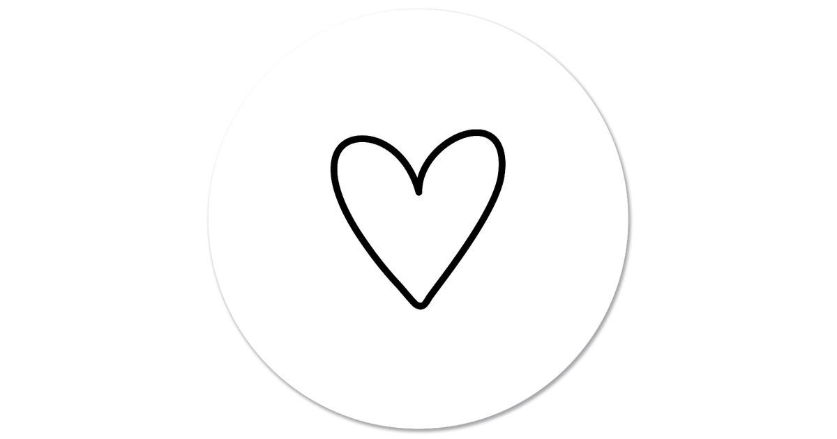 Muurcirkel klein getekend hartje wit - Ø 30 cm