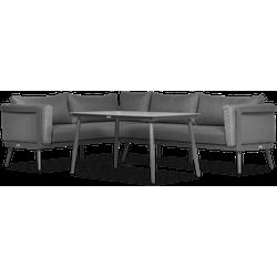 Lanterfant® Maurits - Loungeset - Antraciet - Aluminium - Glas - 5 personen