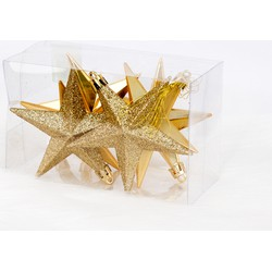 6 Onbreekbare kerststerren 10 cm goud classic