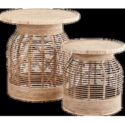 Bijzettafel set van 2 bamboo 45 x 46 en 61 x 61,5