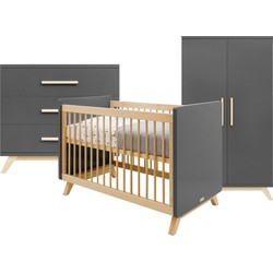 Bopita Kyan 3-Delige Babykamer - Bed - Commode - 2-Deurskast - Grey/Natural