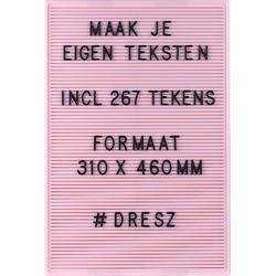 Dresz Retro Letterbord - Roze - 31x46cm