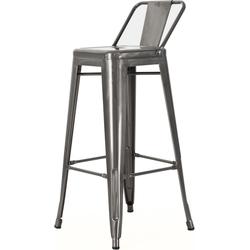 Metalen café barkruk - met rugleuning - 77 cm hoog - Industrieel metaal