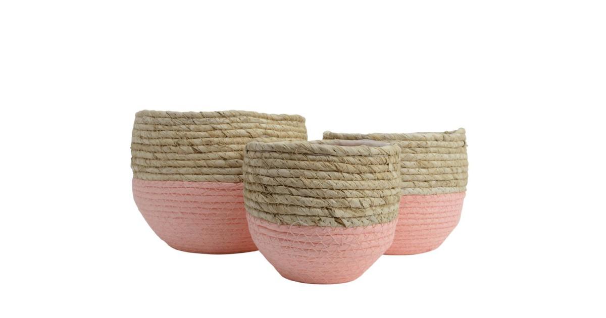 Basket grass d20h17cm pink