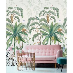 Vliesbehang - 350x250cm - Bananenblad Kinderkamer groen/wit