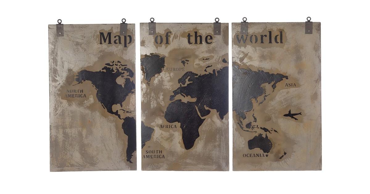 Cozy Ibiza - Houten wereldkaart met een beton finish drie luik