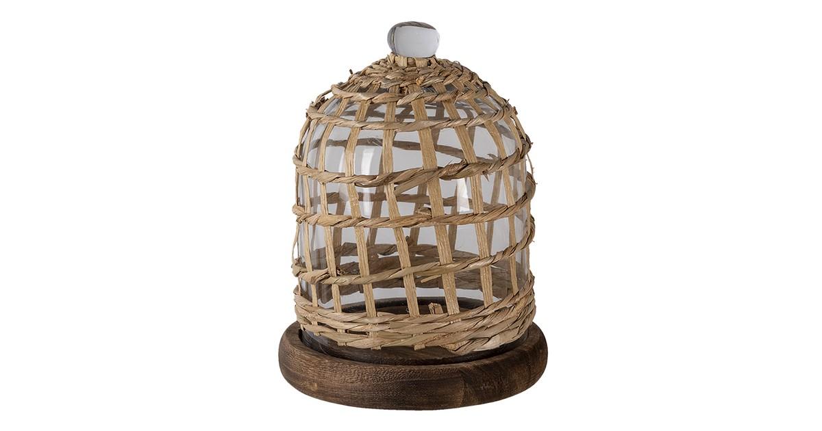 Clayre & Eef stolp 64814 Ø 17*22 cm bruin hout/ glas glazen stolp