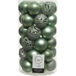 kerstbal plc mix d6cm s.groen 37st