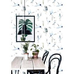 Vliesbehang Kraanvogel blauw wit 60x122 cm