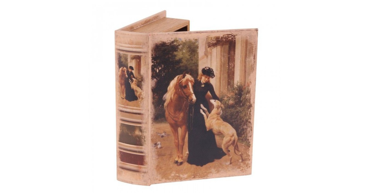 Baroque Collectie Boek doos 23 cm Dame met paard en hond