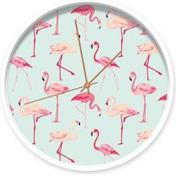 Klok flamingo's - Wit / koper