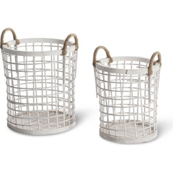 Set van 2 bamboe manden - wit