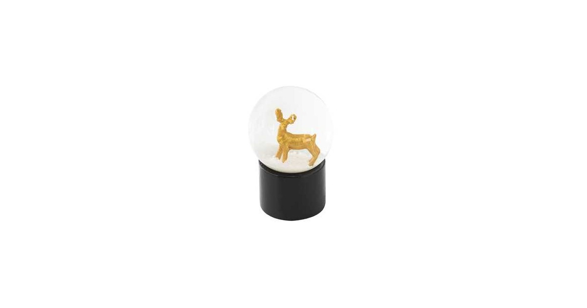 Clayre & Eef Sneeuwbol Ree Ø 5*6 cm Goudkleurig Kunststof / Glas Rond