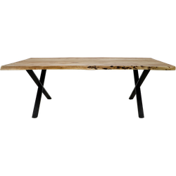 Eettafel SoHo - 200x100 cm - x-poot - acacia/ijzer