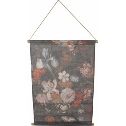 Wandkaart bloemen S zwart 64x87 cm
