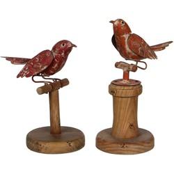 Sfeer voor jou set van 2 metalen vogels maat in cm: 15 x 10 x 21 oranjerood