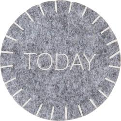 Onderzetter (4 pcs) | Ø 10 cm ( set 4 ) | Grijs | Vilt | Rond | Today | Clayre & Eef | FE070.020