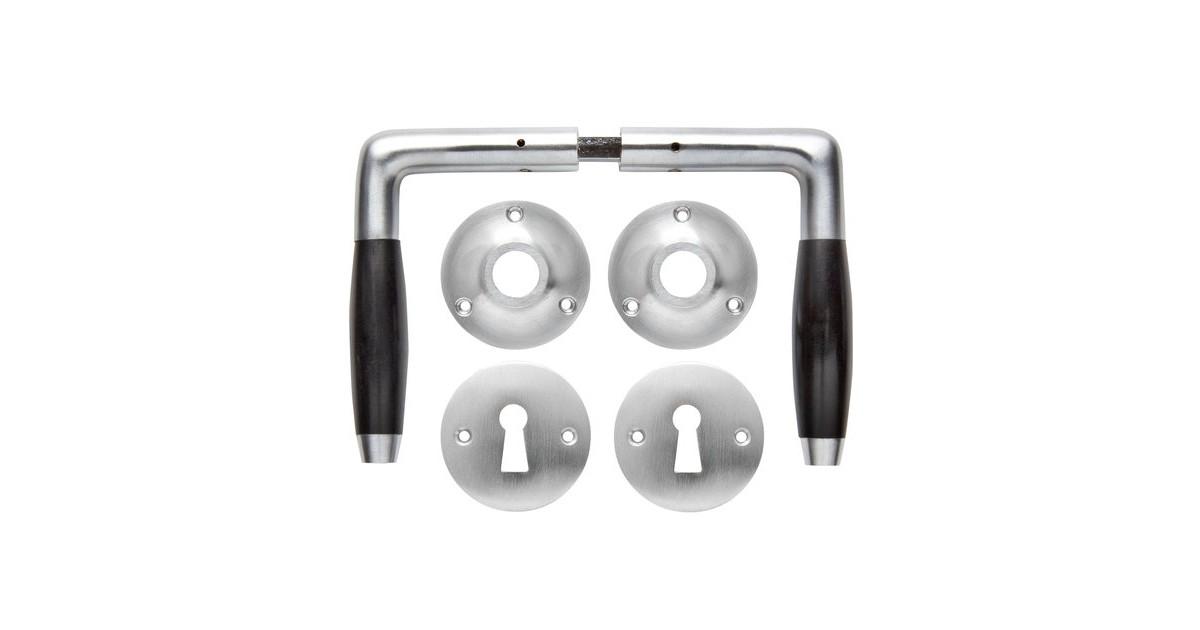 Deurklink set - Klassiek mat geborsteld nikkel met ronde sleutelrozetten