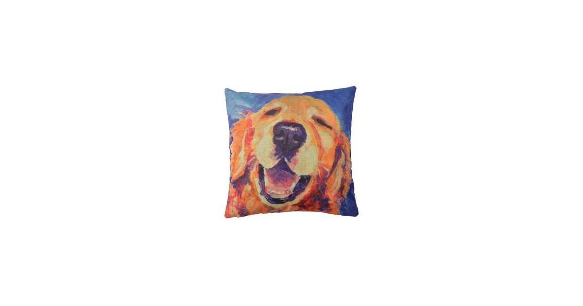 Clayre & Eef Kussenhoes KT021.235 43*43 cm Geel, Oranje, Blauw Polyester Vierkant Hond Sierkussenhoes