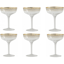 Nordal Clear cocktail glas goud motief per 6