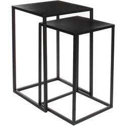 Mica Decorations goa tafel zwart set van 2 grootste maat in cm: 35 x 35 x 55