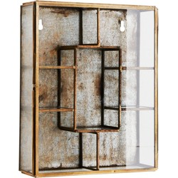Madam Stoltz Wandrekje Glas antiek Brass 26 x 21 x 6