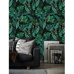 Zelfklevend behang XL Donkere bloemen 250x250 cm