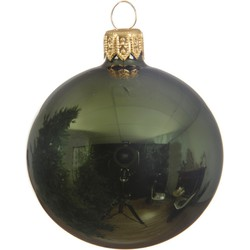 4 Glazen kerstballen glans 10 cm dennen groen