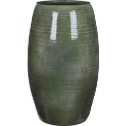 Mica Decorations lester ronde vaas groen maat in cm: 50 x 30