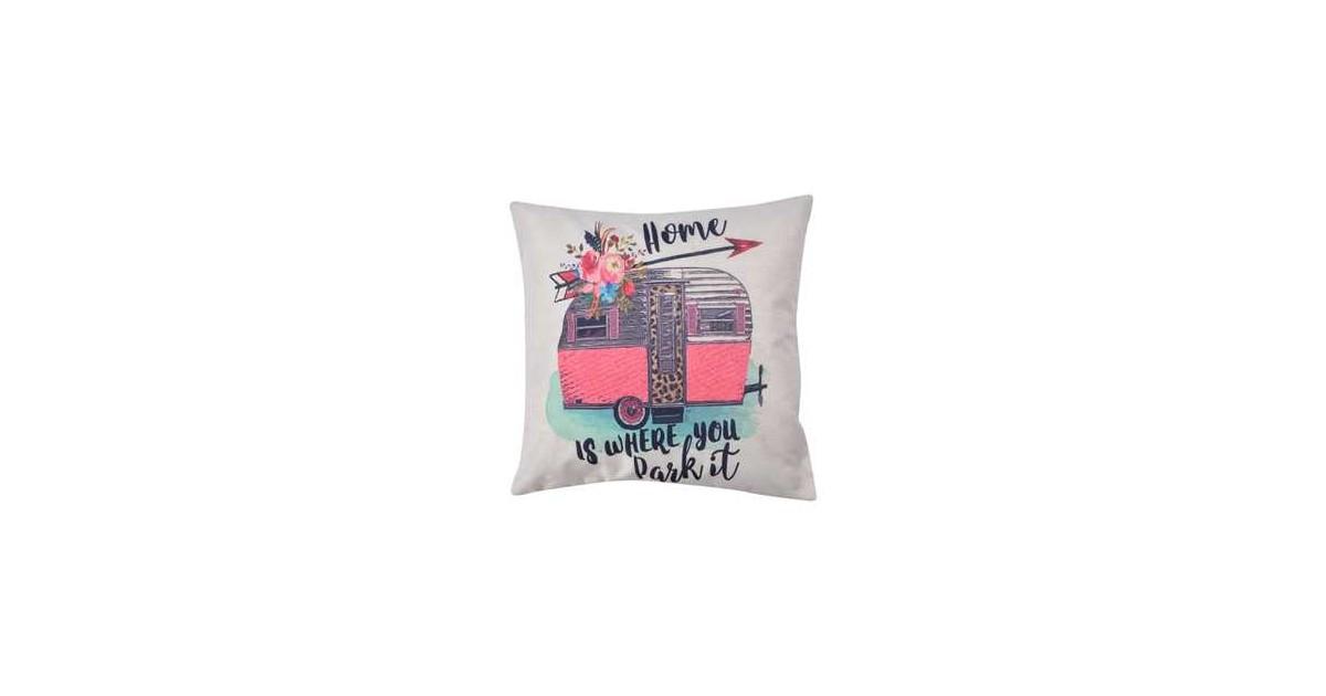 Clayre & Eef Kussenhoes KT021.226 43*43 cm Wit, Roze, Groen Polyester Vierkant Sierkussenhoes