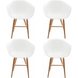 Kare Design Stoel Forum Wood Armleuningen - Set Van 4 - Wit