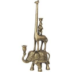 Kandelaar - 26*11*57 cm - goudkleurig - aluminum - dieren - Clayre & Eef - 6AL0045