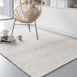 Wollen vloerkleed Wit/Antraciet - Cobble Stone - 140 x 200 cm - (S)