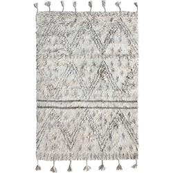 HK-living vloerkleed berber grijs wit patroon handgeknoopt wol 120x180cm