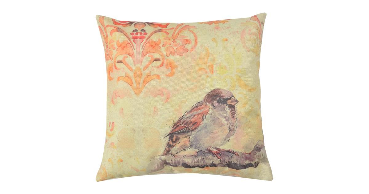 Clayre & Eef Kussenhoes KT021.249 43*43 cm Geel, Oranje, Bruin Polyester Vierkant Vogel Sierkussenhoes
