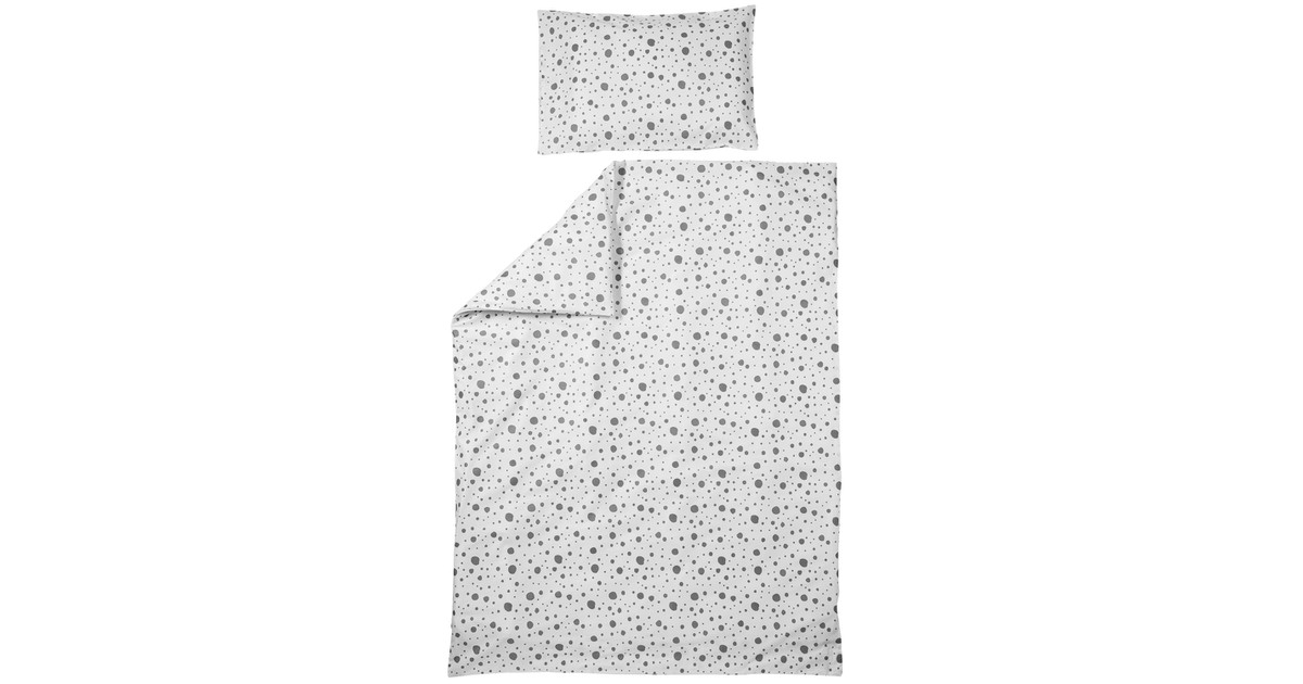 Meyco Dekbedovertrek Dots Grijs-Ledikant (100 x 135 cm)