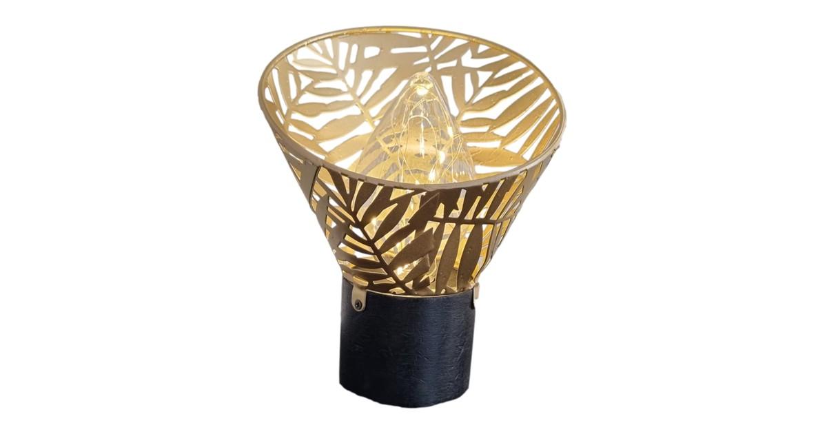 Inspiring Minds Gouden decoratie tafellamp led – Tafel lamp goud met blad patroon 19 cm online kopen