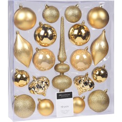 Kerst hangdeco set 19 stuks goud