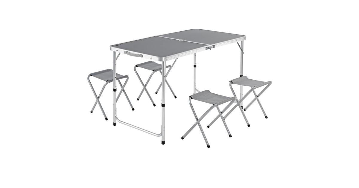 Nancy's Ben Lomond Picknicktafel - Klaptafel - Campingtafel - Tafel - 4 Krukjes- Zitgroep - Kampeerkoffer - Opklapbaar - Aluminium - MDF
