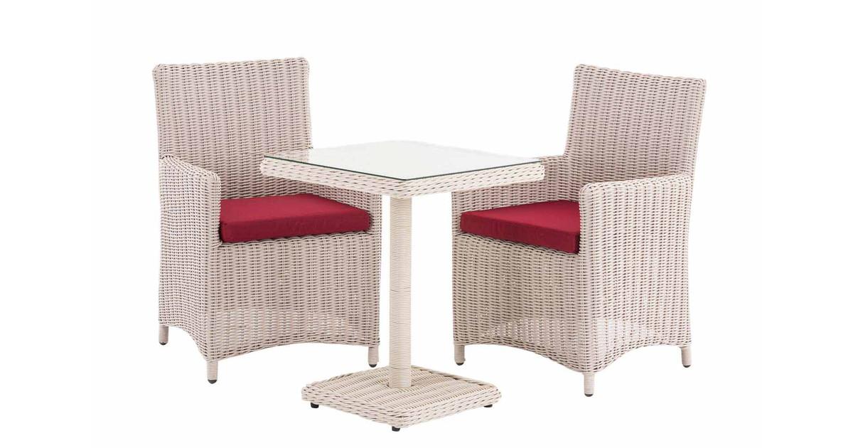 Tuinset - Balkonset - Inclusief salontafel - Rood/Parelwit