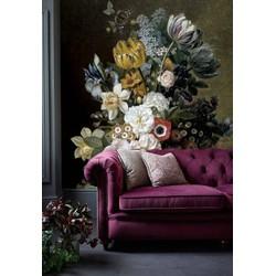 Vliesbehang - 190x170cm - bloemen zwart vintage geel