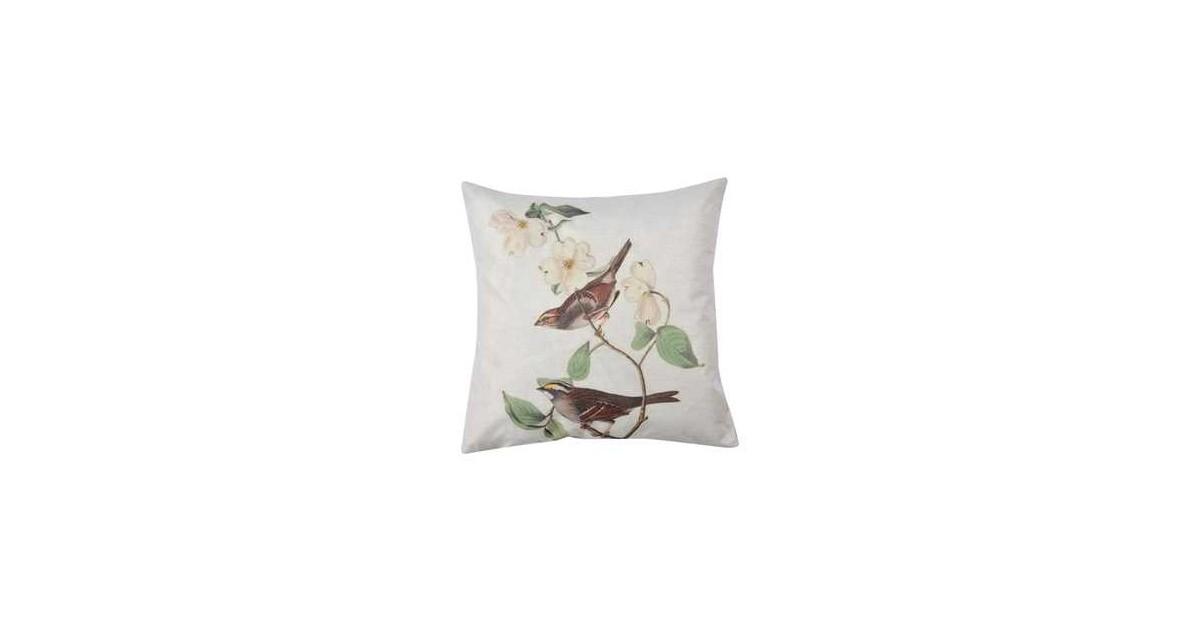 Clayre & Eef Kussenhoes 43*43 cm Wit, Bruin, Groen Polyester Vogel Vierkant Sierkussenhoes Kussen hoes