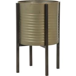 Light&Living Bloempot Caski Deco Op Standaard Tin Brons M 43,5 x Ø28,5