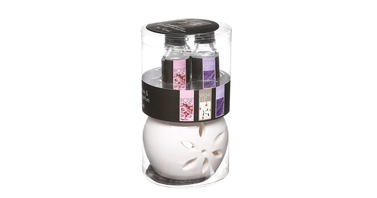 Decopatent ® Oliebrander SET Aromabrander voor Geurolie INCL 3x 10ML Bloemenoliën Vanille Roos Lavendel Olieverdamper SET online kopen