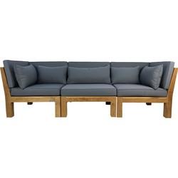 Tuin 3-zits loungeset modulair Aruba (incl. kussens) - 3-delig - Hout - Bruin