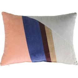 HKliving velvet patch kussen multicolour B (35x50)