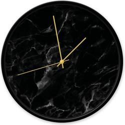 Klok marmer zwart - Zwart / goud