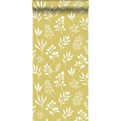 ESTAhome behang bloemmotief in Scandinavische stijl okergeel en wit