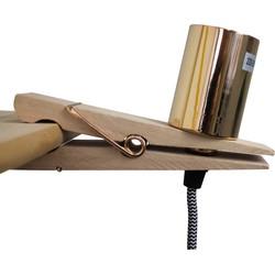 Houten Knijper Lamp-15x3x10cm-Gouden fitting en afwerking-Housevitamin
